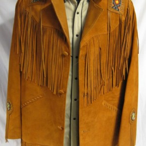 Suede indian beaded jacket cognac » Convoy Mail