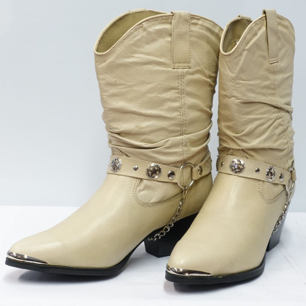 Ladies slouch with harness boots tan pig