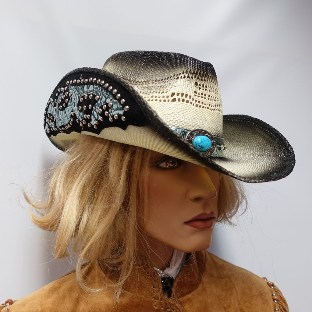 Embellished Brim Straw Hat
