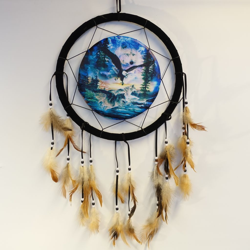 «Ealge and running wolves» dreamcatcher 33 cm