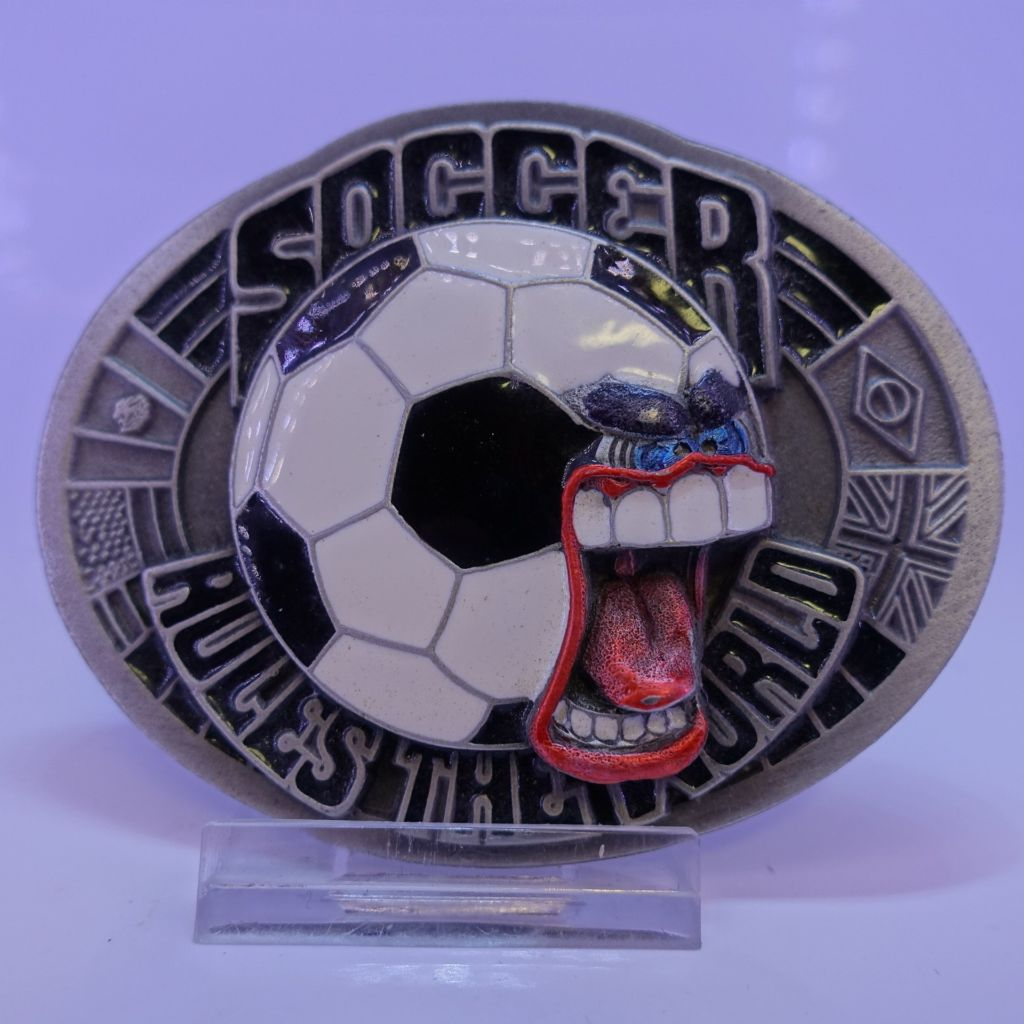 Soccer rules the world buckle